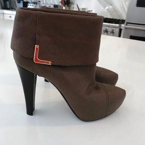 Louis Vuitton Mocha Leather 'Queen' Bootie Boots